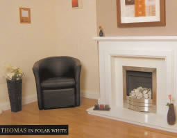 Thomas Polar White Solid Marble Fireplaces Liverpool